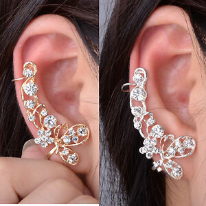 Gold Silver Retro Crystal Butterfly Flower Ear Cuff Stud Earring Wrap Earring