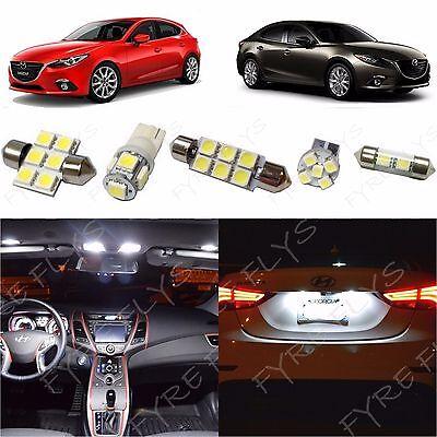 8x White LED lights interior package kit for 2014 & Up Mazda 3 Mazda3 MT1W