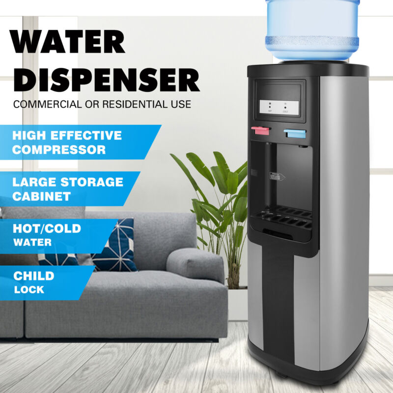 Top Loading 5 Gallon Stainless Steel Water Cooler Dispenser Hot/Cold Home Office