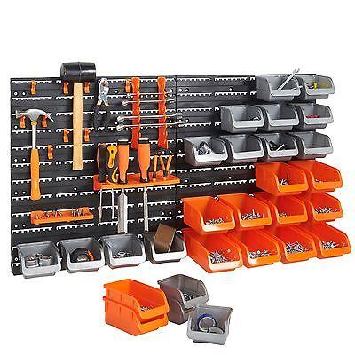 Vonhaus 44 Piece Pegboard Wall Mounted Panel Set Garage Tool Storage Organizer