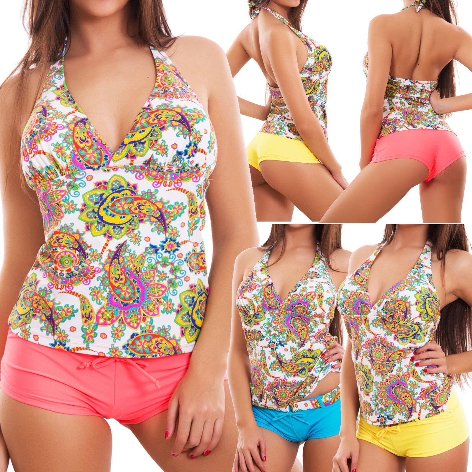 eb4cfef267f0a Cachemira de dos piezas traje de baño tankini para mujeres bikini shorts  mar nueva F8805