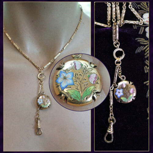 Antique Gold Filled Enamel Vinaigrette Pendant Necklace L MFG Co Bar Link Chain