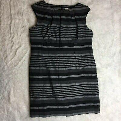 Calvin Klein Plus Size 20W Black Gray Stripes Sheath Dress Cap Sleeve F15