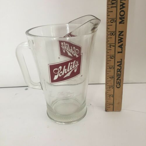 "Vintage Glass Schlitz Beer Pitcher - ""The Beer That Made Milwaukee Famous"""