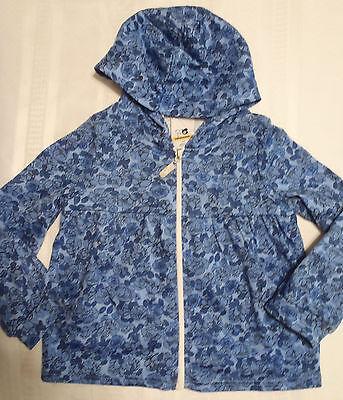 Zip Front Shirt Mädchen (SPROCKETS Girls 4T Zip Front Hooded Long Sleeve Jacket Shirt NWT Blue Floral)