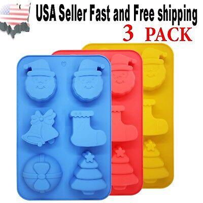 3 PACK Christmas Santa Jingle Bell Silicone DIY Handmade Soap Mold ~ US Seller