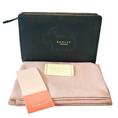 Radley Dog Black Shadow Leather Medium Purse Card Wallet Coins