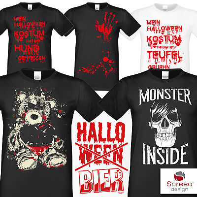 Halloween T-Shirts Herren Totenkopf Blut Teddy Monster Horror Kostüm Mann Shirt