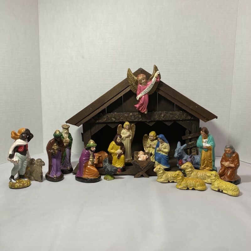 Vintage Japanese Nativity Set w/21 Figures & Creche, Hand Painted Papier Mache