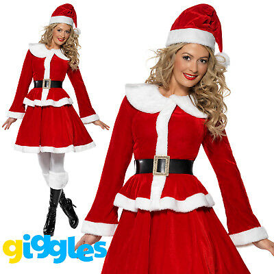 Miss Santa Claus Costume Womens Mrs Father Christmas Xmas Fancy Dress Outfit](Father Xmas Outfits)