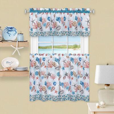 Seashells Window Windows - Coastal Tier and Valance Window Curtain Set - 58x36 - Seashell