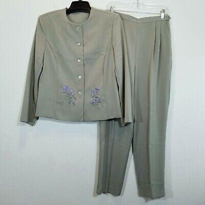 SOUTHERN LADY Womens Sage Green Pant Suit Size 12 Blazer & Stretch Waist Slacks