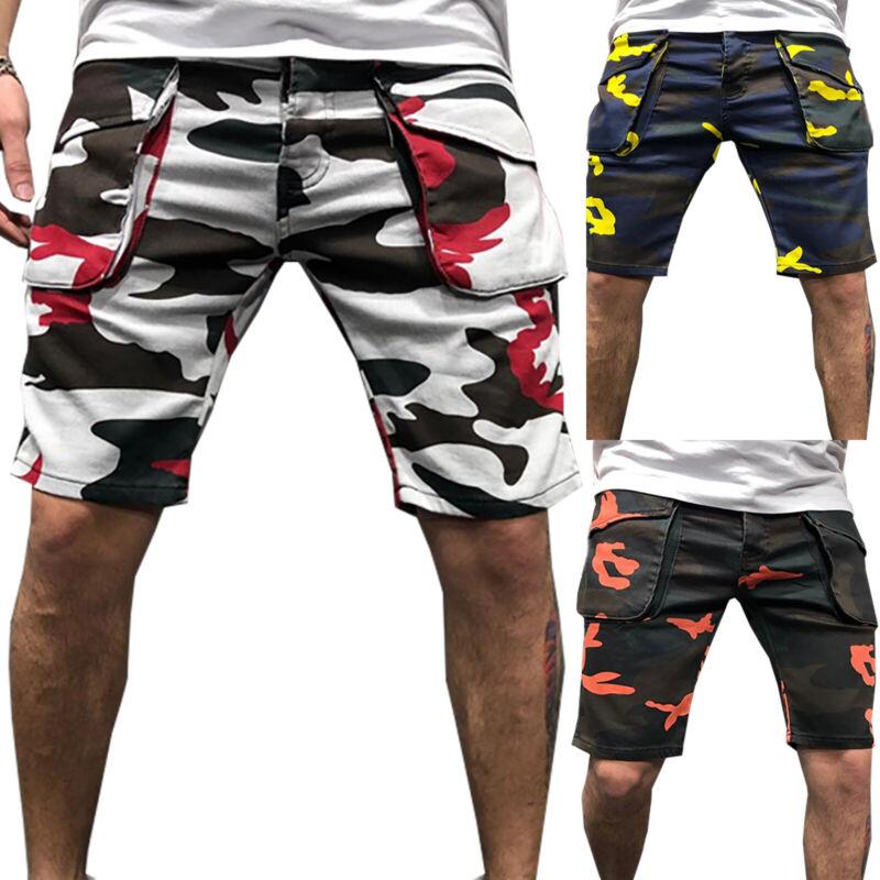 Herren Camouflage Cargo Shorts Bermuda Kurze Hose JoggingTasche Knielang Hosen