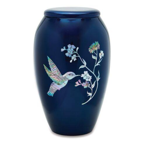 Blue Hummingbird Adult Cremation Urn
