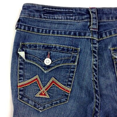 Polyester Flared Jeans Cut Pants (Vigoss Flare Jeans Size 5/6 28 Boot Cut Medium Wash Embroidered Women Pants MM43 )