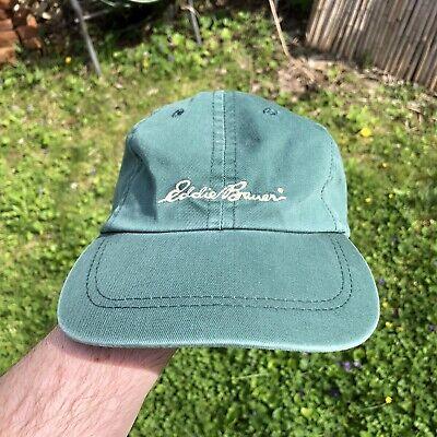 Vintage Eddie Bauer Dad Hat Cap Mens Green Cotton Strap Back USA Made 90s