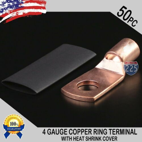 "50 PCS 4 AWG 4 GA. Copper Ring Terminal Heat Shrink 5/16"" Hole Lug Connector US"