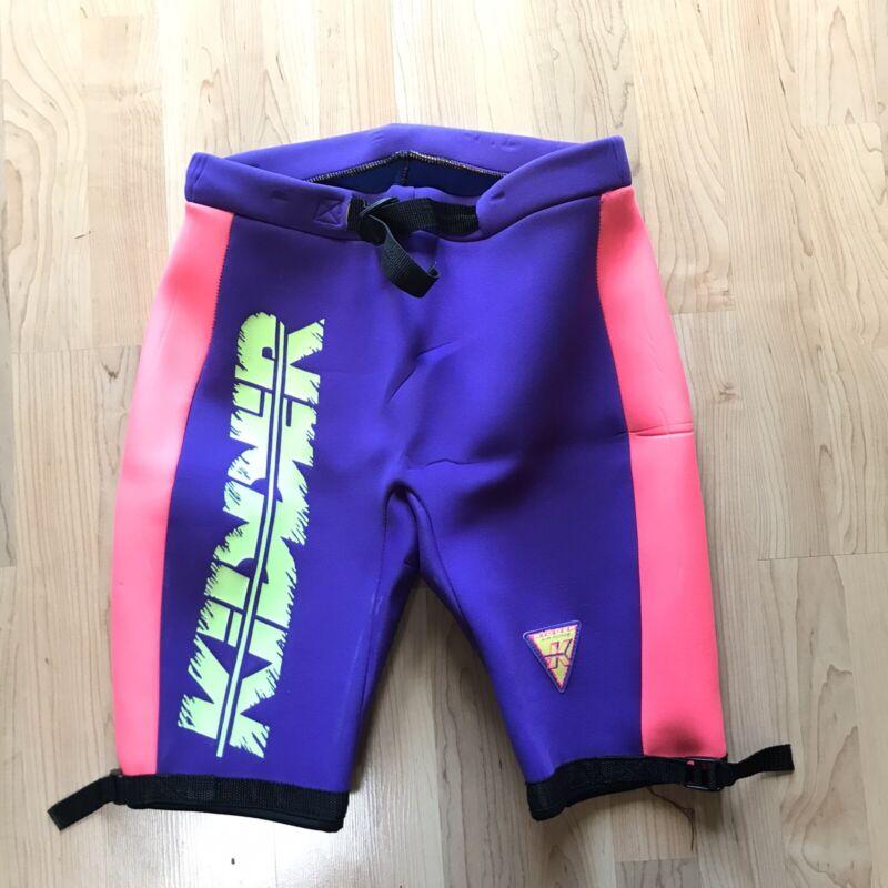 Vintage Kidder Shorts Sz XL Neoprene Rubber Neon Colorblock Swim Ski