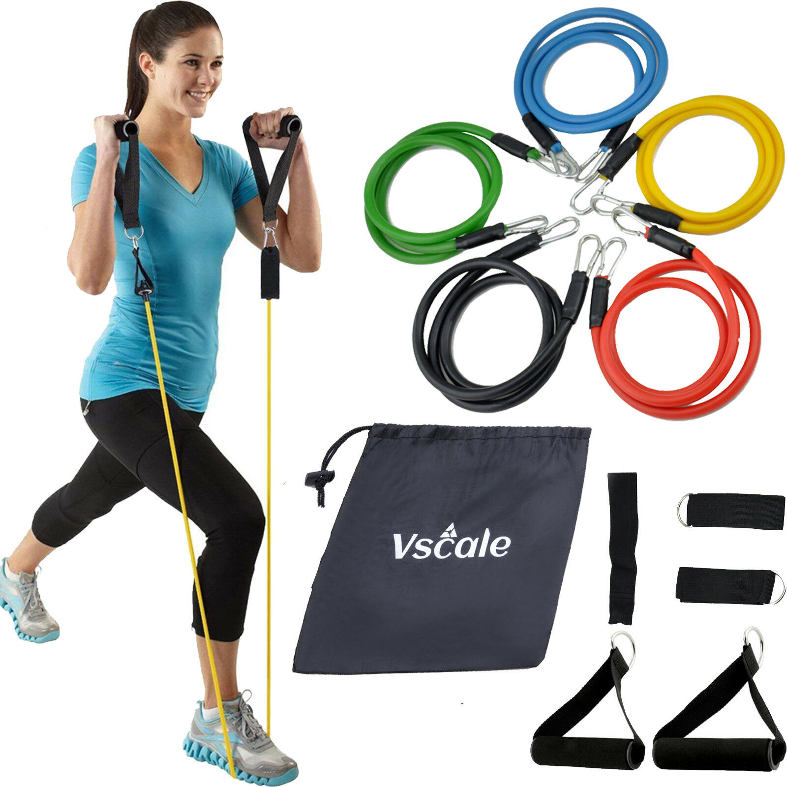 Resistance Bands Set Yoga Pilates Latex Exercise Fitness Tube Workout Band 11PCS Fitness Equipment & Gear