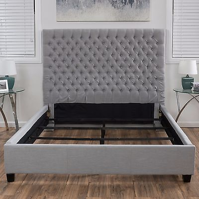 Contemporary Light Grey Button Tufted King Sized Bed Set