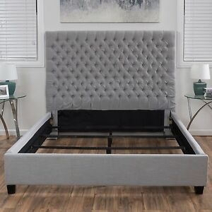 light grey button tufted king sized bed set