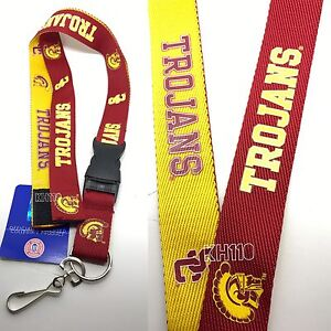 NCAA USC Trojans Two Tone Lanyard Keychain Official Licensed