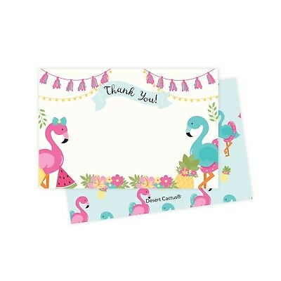 Flamingo Thank You Cards 25 Ct w/ Envelopes & Seals Stickers Birthday Party](Birthday Thank You Cards)