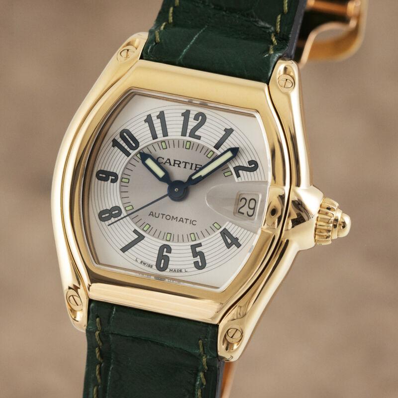 Cartier Roadster 18K (0,750) Gold Automatik Herrenuhr Datum Ref. 2524 Klassiker - watch picture 1