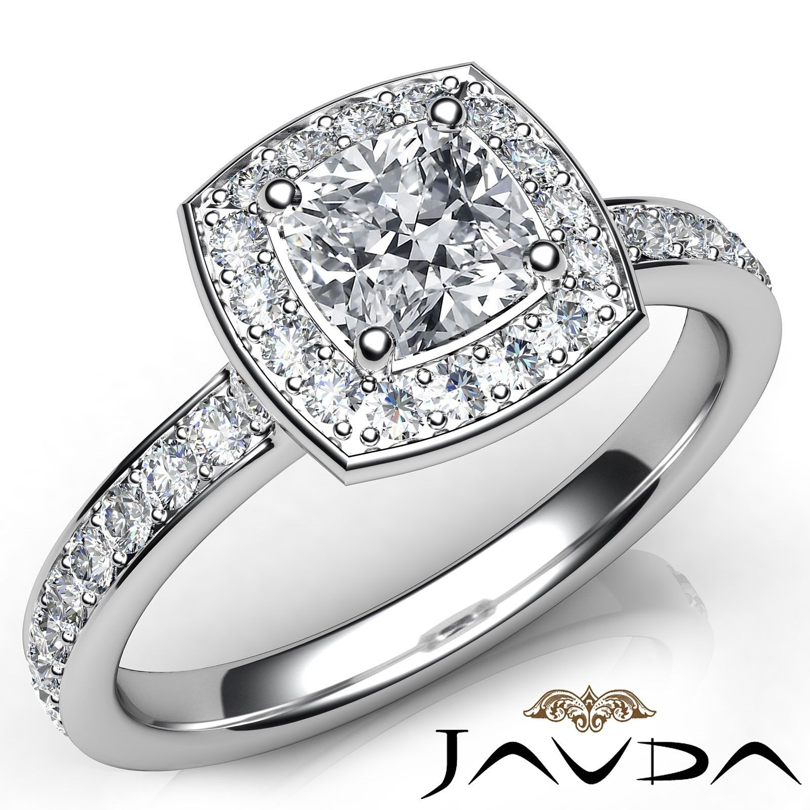 0.99ctw Halo Pave Set Wedding Cushion Diamond Engagement Ring GIA H-VS2 W Gold