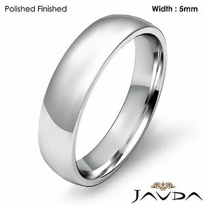 ... Light Weight Comfort 5mm 18k Gold White Men's Wedding Band Dome Ring 6