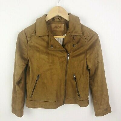 Zara Girls Size 11 12 Brown Faux Suede Leather Moto Motorcyle Jacket Zip Up Girls Faux Suede Jacket