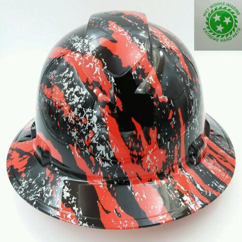 New Custom pyramex (Full Brim) Hard Hat HYDRO DIPPED IN RED URBAN CAMO FILM 2