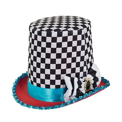 ALICE TEA PARTY FAIRYTALE MAD HATTER CHEQUERED HAT FANCY DRESS SET ACCESSORY for sale  Chester