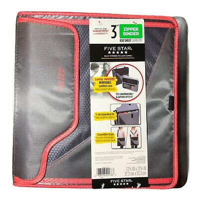 Five Star 850 Sheet 3 Ring Zipper Silver And Pink Binder - New