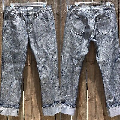 Calvin Klein Jeans With Metallic Silver Sheen Finish Wash 7 90s 1990s ?Vintage - Metallic Sheen Finish