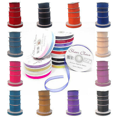- Organza Woven Edge Sheer Ribbon Chiffon Cut Lengths 6mm 10mm 15mm 25mm 40mm