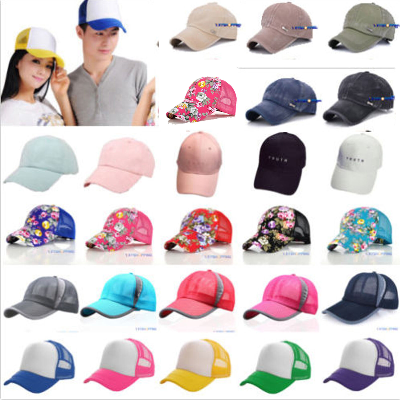 Herren Damen Baseball Cap Hüte Mützen Snapback Mesh Kappe Sports Hut Sommer BF