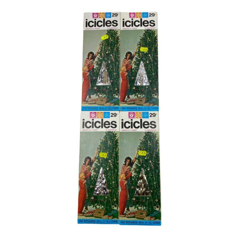 Lot of 4 Packs Vintage Icicles Silver Tinsel Christmas Marathon Franke USA