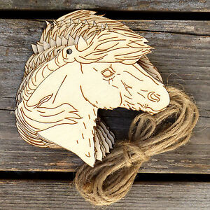 10x wooden shetland pony horse head craft shapes 3mm for Wooden horseshoes for crafts