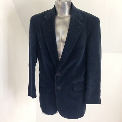 Lands End Mens Corduroy Blazer Sport Coat Jacket size 43 R Lined Dark Blue