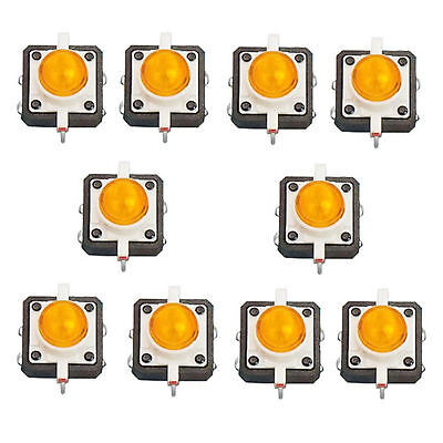 10 X Led Tactile Push Button Switch Momentary Tact 12x12 4pin Round Cap Yellow
