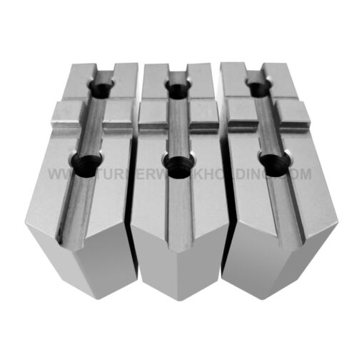 """AMERICAN STANDARD STEEL SOFT JAWS FOR TONGUE & GROOVE 8"""" CHUCK 2"""" HT (3 PC SET)"""