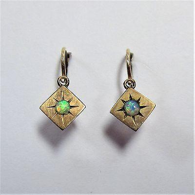 1721 - Kleine antike vergoldete Ohrringe mit Opal - 1724