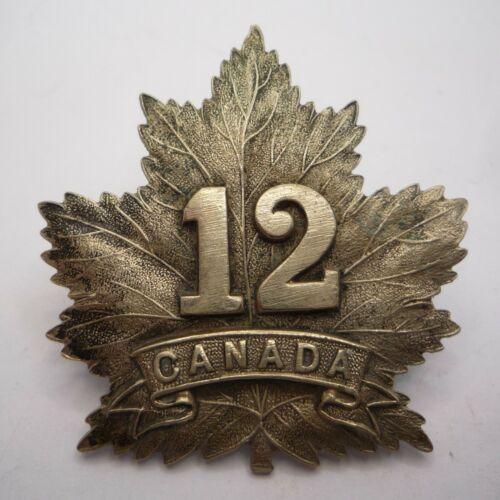 12TH BATTALION CEF CANADIAN ARMY GENUINE WHITE METAL CAP BADGE BY WJ DINGLEY