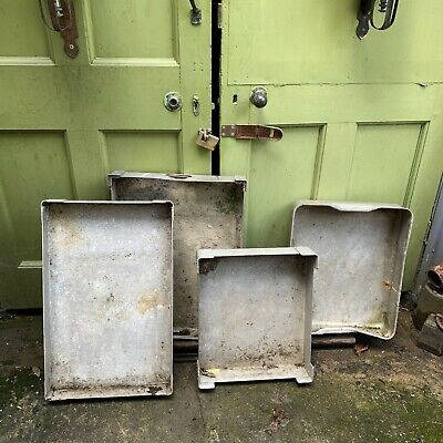 Set of 4 vintage aluminium catering or garden plant trays