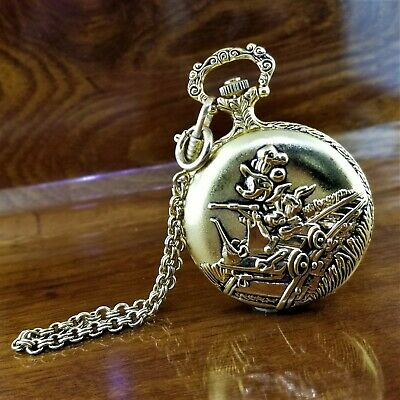 Vintage VERICHRON Disney Gold TN 3D Mickey Mouse Railroad Pocket Watch