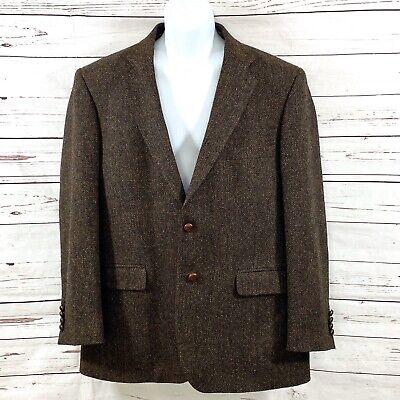 Harris Tweed Mens Wool Sport Coat Blazer Jacket Brown Herringbone Size 44R NEW