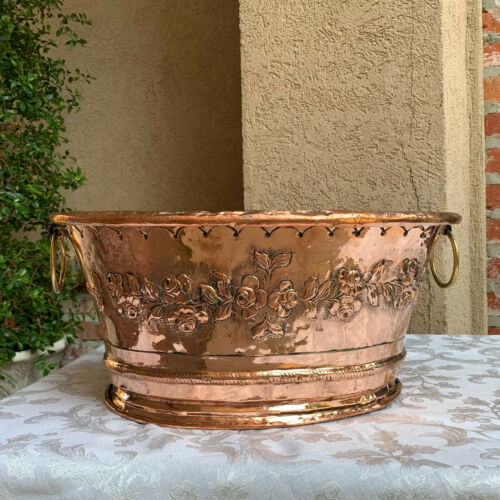 LARGE Antique French Embossed Hammered COPPER Planter Jardinière Cachepot Brass