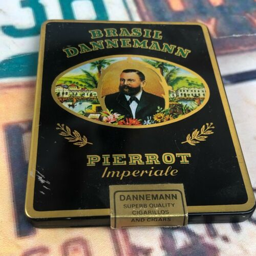 Vintage Brasil Dannemann Pierrot Imperiale Advertising Tin Cigar Box Hinged