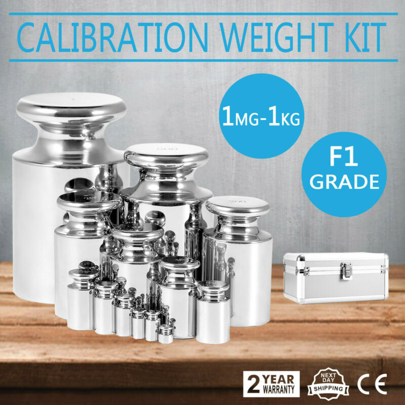 F1 Grade 1mg-1kg Stainless Steel Scale Calibration Weight Kit Set w/ Certificate
